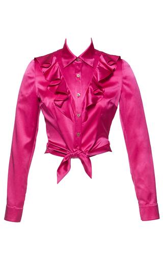 Medium lena hoschek pink cropped ruffle blouse
