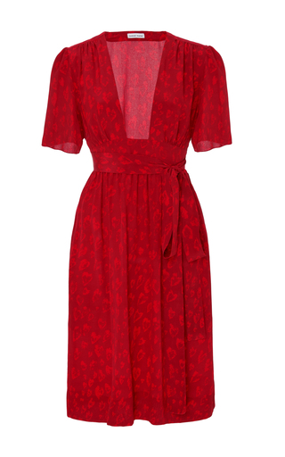 Medium tomas maier red silk heart print dress