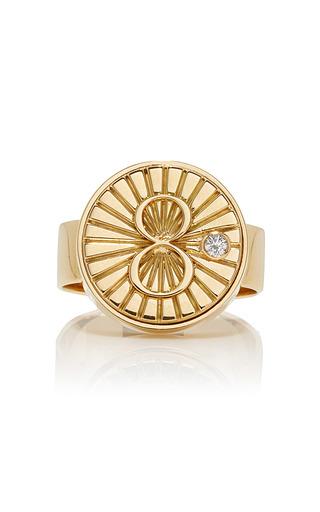 Medium foundrae gold karma signet ring