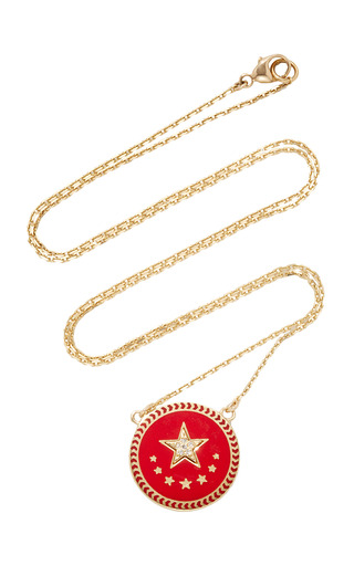 Medium foundrae red strength petite champleve stationary necklace