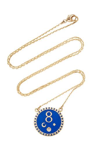 Medium foundrae blue karma petite champleve stationary necklace