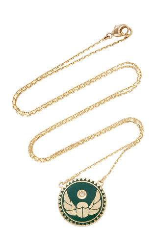 Medium foundrae green protection petite champleve stationary necklace