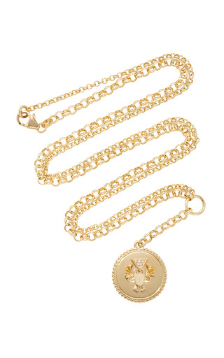 Medium foundrae gold protection medium medallion on 28 mixed belcher chain