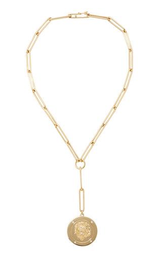 Medium foundrae gold strength large medallion on extended clip choker chain