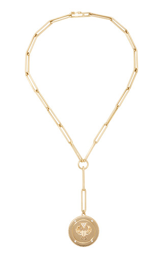 Medium foundrae gold protection large medallion on extended clip choker chain