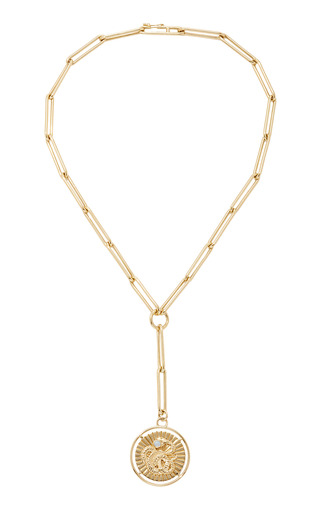Medium foundrae gold wholeness large medallion on extended clip choker chain