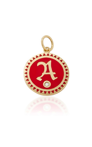 Medium foundrae red champleve enamel initial medallion in red