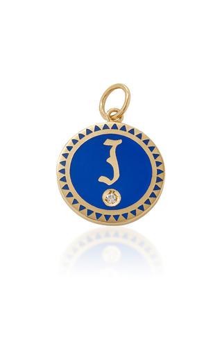 Medium foundrae blue champleve enamel initial medallion in blue