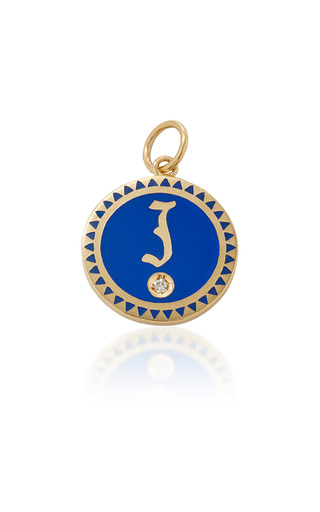 Medium foundrae blue champleve enamel initial medallion in blue