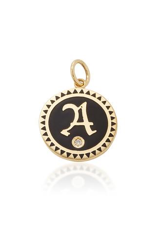 Medium foundrae black champleve enamel initial medallion in black