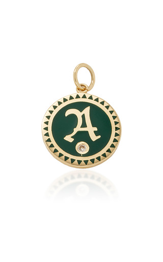 Medium foundrae green champleve enamel initial medallion in green