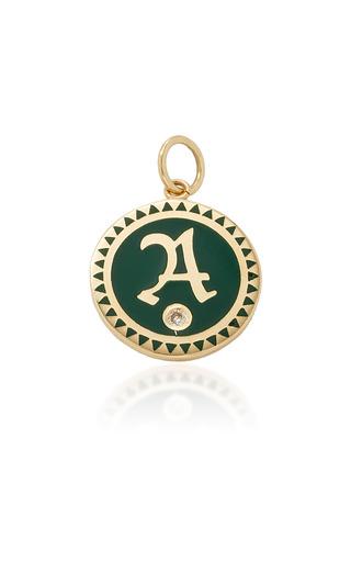 Medium foundrae green champleve enamel initial medallion in green