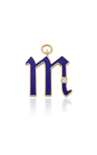 Medium foundrae blue diamond point initial in blue enamel