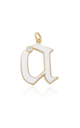 Medium foundrae white diamond point initial in white enamel