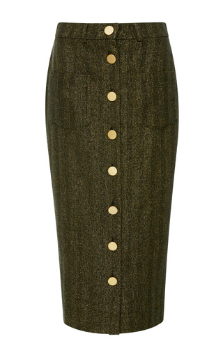 Medium maison pere metallic herringbone lurex pencil skirt