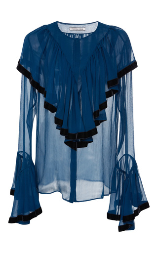 Medium maison pere blue ruffled crinkle georgette blouse