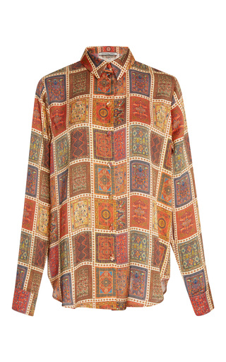 Medium maison pere print rug print button up shirt