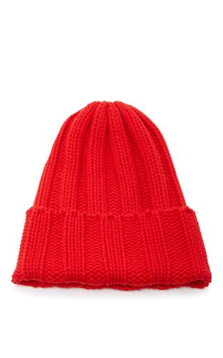 Medium tak ori red ribbed knit beanie