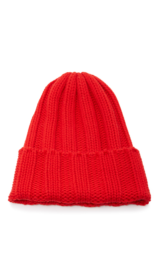 Medium tak ori red ribbed knit beanie
