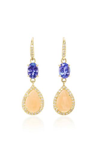Medium lauren k multi 18k gold tanzanite moonstone and diamond earrings