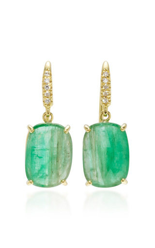 Medium lauren k green 18k gold emerald and diamond earrings