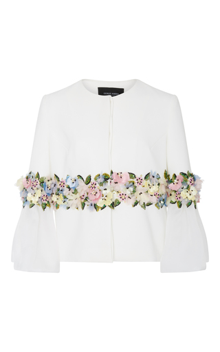 Medium georges hobeika white three quarter length sleeve floral jacket