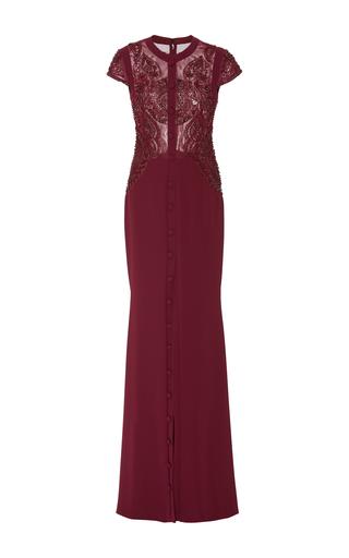 Medium georges hobeika burgundy embellished short sleeve dress