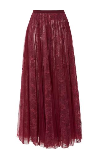 Medium georges hobeika burgundy embroidered tulle midi skirt