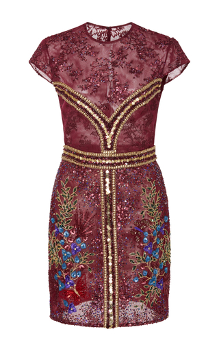 Medium georges hobeika burgundy embellished mini dress
