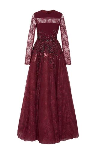 Medium georges hobeika burgundy long sleeve embellished gown