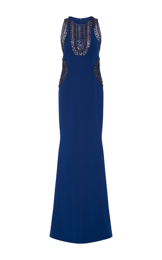 Medium georges hobeika blue embellished fitted gown