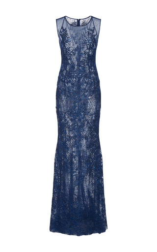 Medium georges hobeika blue sheer embellished gown