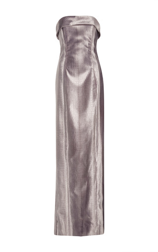 Medium hensely silver embossed crocodile strapless column dress