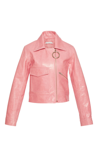 Medium rejina pyo pink sara leather jacket