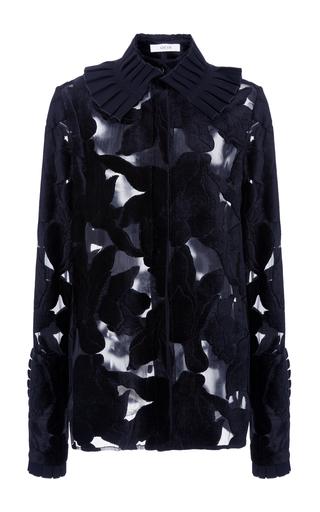 Medium adeam grey ruffle collar blouse