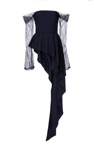 Medium adeam black lace sleeve cascade top