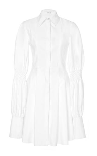 Medium adeam white pleated shirt dress with smocking detail