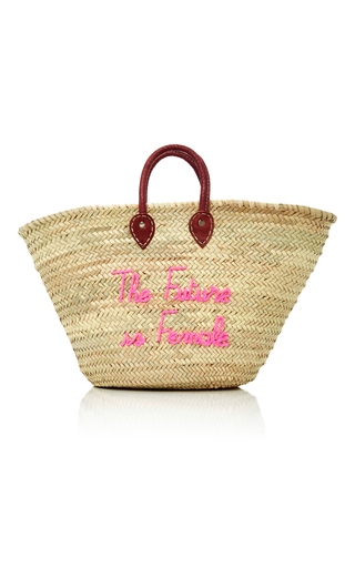 Medium we are poolside pink m o exclusive shorty embroidered straw tote