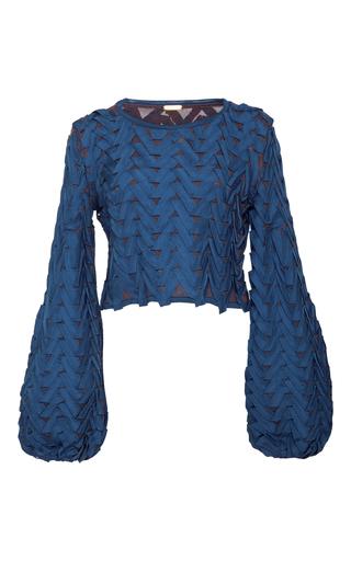 Medium pepa pombo blue bell sleeve textured crop top