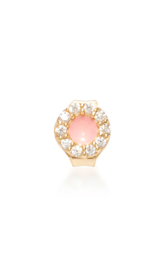 Medium alison lou pink 14k gold pink enamel and diamond singe earring