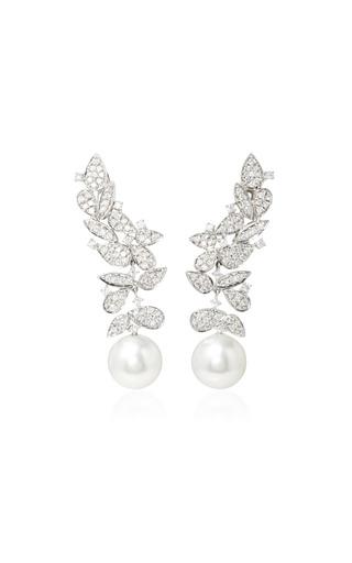 Medium hueb white gala 18k white gold diamond and pearl earrings
