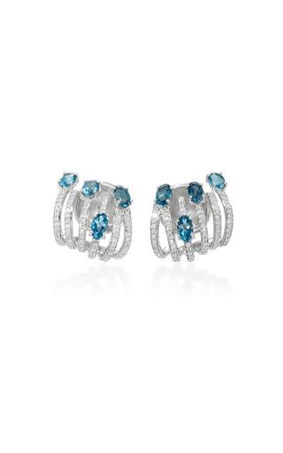 Medium hueb blue 18k white gold diamond and topaz earrings