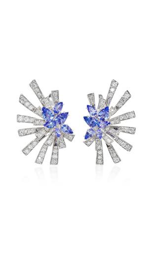 Medium hueb blue mirage 18k white gold diamond and tanzanite earrings