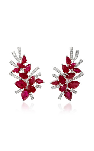 Medium hueb red mirage 18k white gold diamond and ruby earrings
