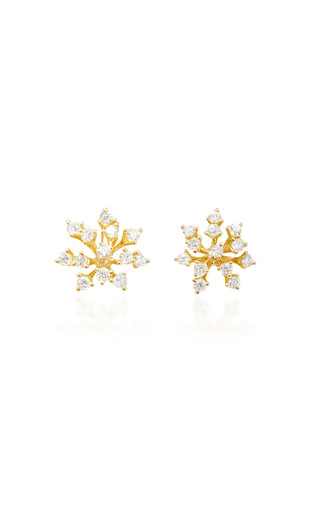 Medium hueb gold luminous 18k gold diamond earrings