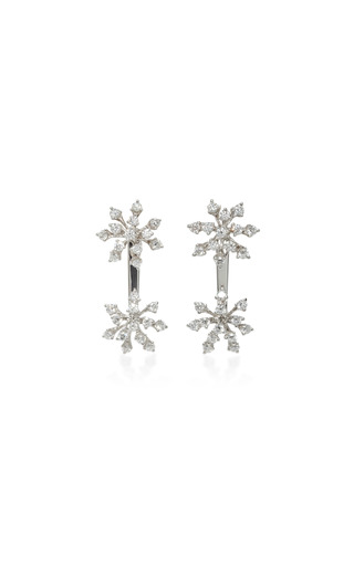 Medium hueb silver luminous 18k white gold diamond earrings