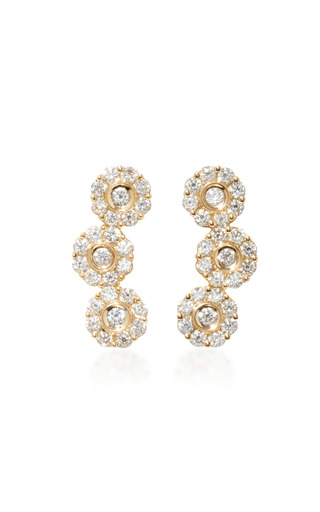 Medium hueb gold 18k gold diamond earrings