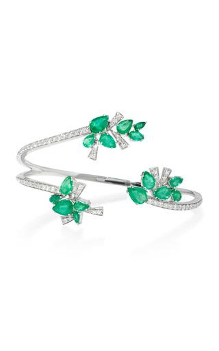 Medium hueb green mirage 18k white gold diamond and emerald cuff