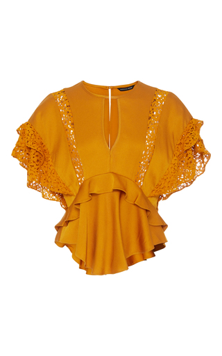 Medium marissa webb gold jayla crepe lace blouse