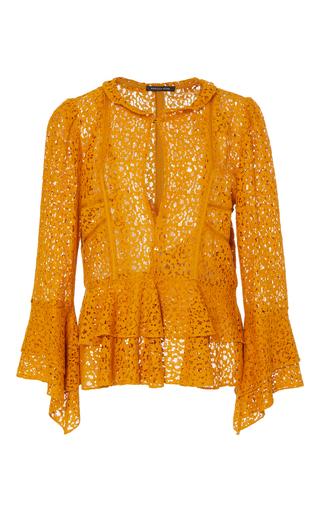 Medium marissa webb gold arielle crepe lace blouse